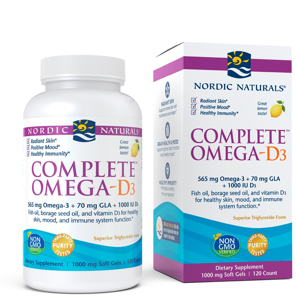 Nordic Naturals - Complete Omega-D3, Additional Bone, Mood, and Immune Support, 120 Soft Gels