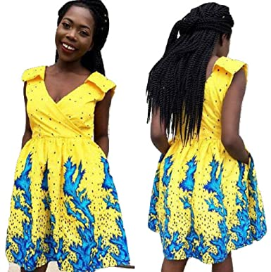 504ad32e14 veroex Women African Ankara Print Knee Length Dress with Side Pocket at Amazon  Women's Clothing store:
