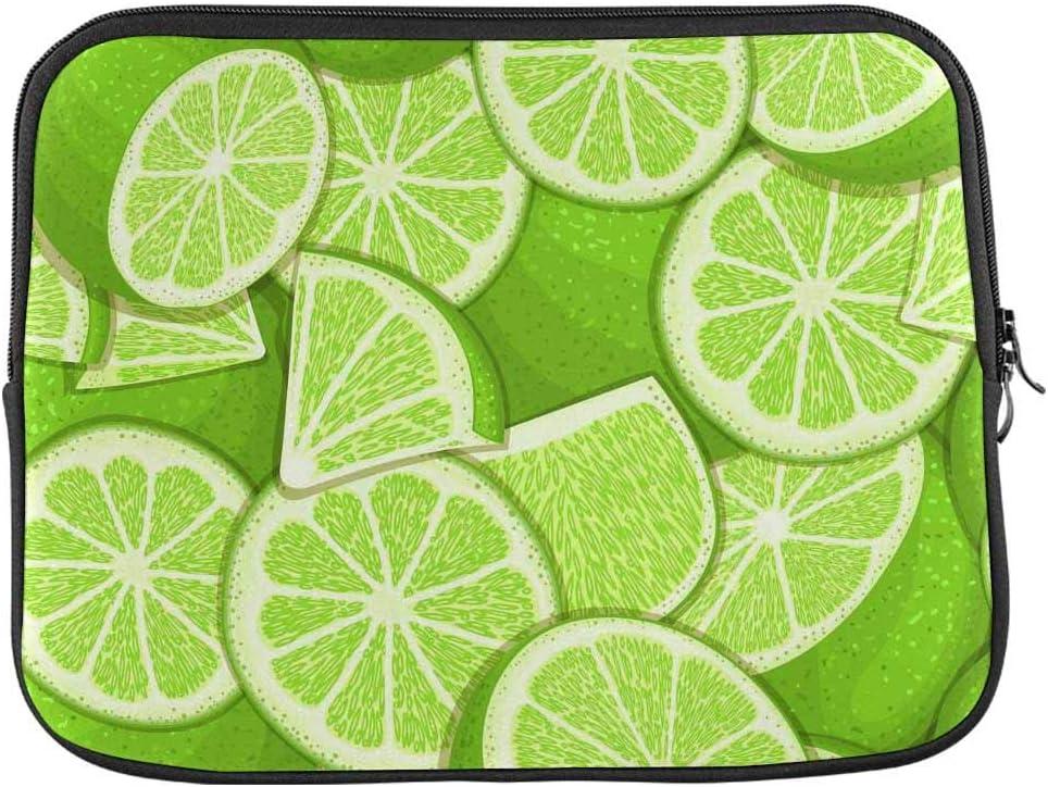 INTERESTPRINT Laptop Water Resistant Sleeve Case Cover Fresh Citrus Green Lemon Fruit Peeled Notebook Neoprene Carrying Bag 13 Inch 13.3 Inch