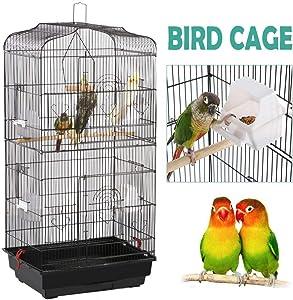 YAHEETECH 36-inch Hanging Medium Parakeet Bird Cages for Parakeets Finches Canaries Lovebirds Small Quaker Parrots Cockatiels Budgie Green Cheek Conure Travel Pet Flight Bird Cage Birdcage