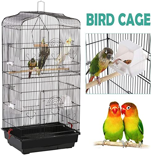 YAHEETECH 36-inch Hanging Medium Parakeet Bird Cages for Parakeets Finches Canaries Lovebirds Small Quaker Parrots Cockatiels Budgie Green Cheek Conure Travel Pet Flight Bird Cage Birdcage