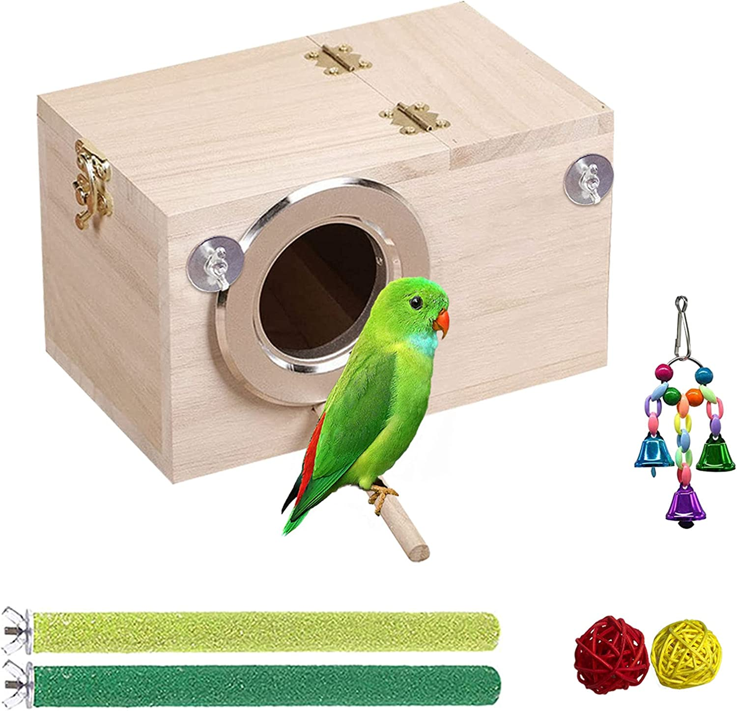 """Tfwadmx Parakeet Nesting Box Bird House Wood Breeding Nest Parrots Mating Box Perch Bell Toys for Lovebirds,Cockatoo,Budgie, Finch,Canary(9.8""""x5.1""""x5.1"""")"""