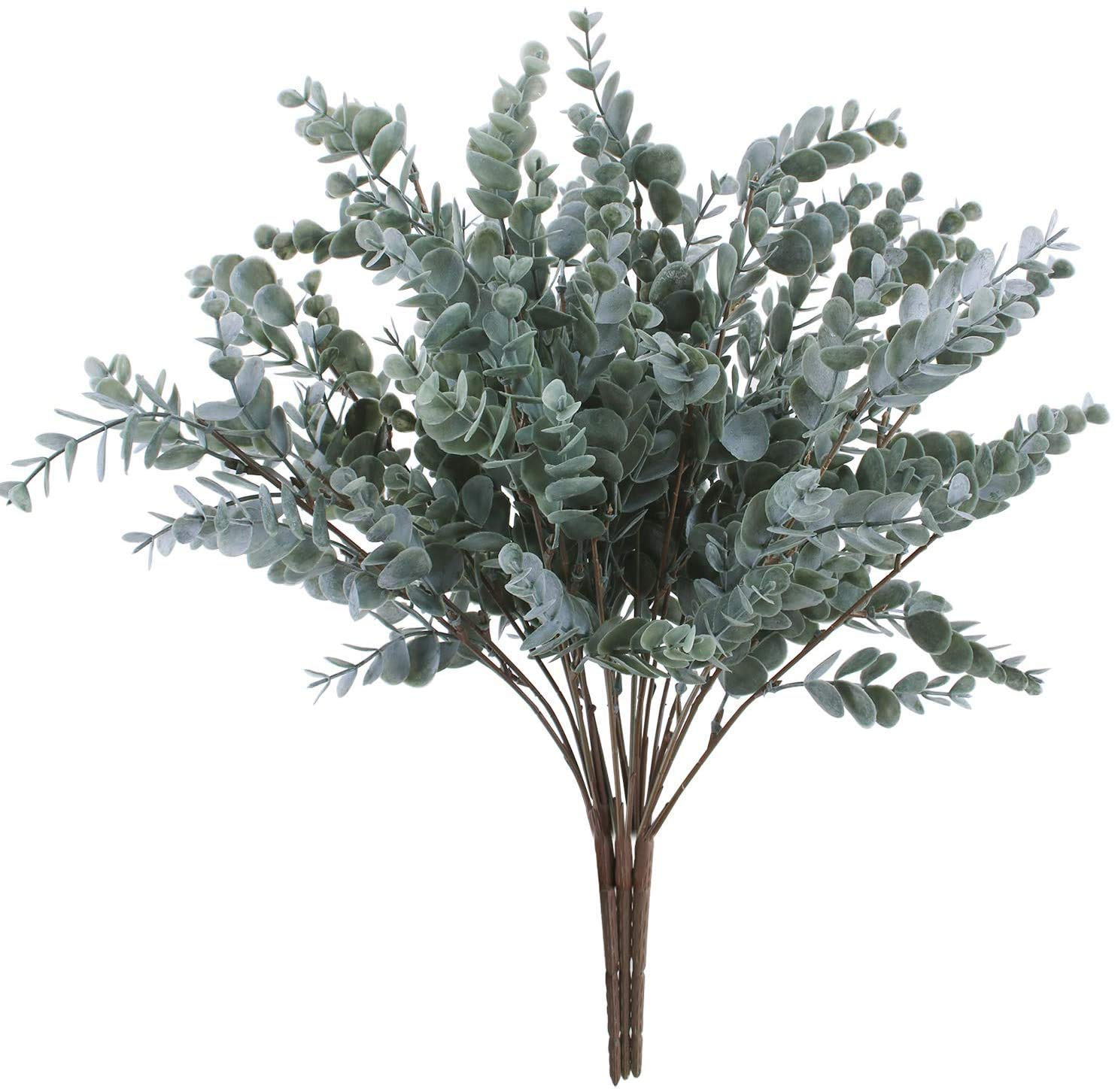 "OUTLEE Pack of 3 Artificial Eucalyptus Stem Shrub Faux Eucalyptus Leaves Spray Artificial Greenery Stems Fake Silver Dollar Branches Plants for Home Wedding Decor 17.7"" Tall"