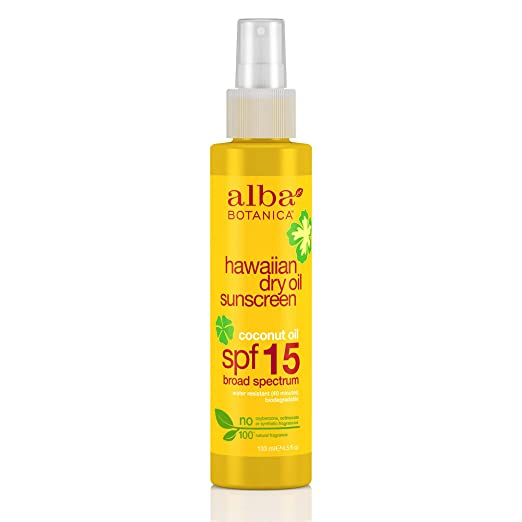 Alba Botanica Coconut Oil Hawaiian Dry Oil SPF 15 Sunscreen, 4.5 oz. (Pack of 2)