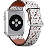 Compatible with Apple Watch Series 5, 4, 3, 2, 1 (Big Version 42/44 mm) Leather Wristband Bracelet Replacement Accessory Band + Adapters - Dog French Bulldog