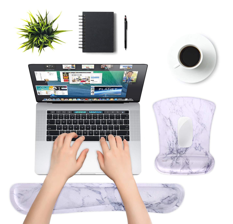 MOSISO Supporto da Polso Set per Mouse Pad e Tastiera,Poggiapolsi Mousepad Ergonomico Base Antiscivolo per Casa//Ufficio e Facile da Digitando con Neoprene Panno/&Sollevato Memory Foam,Peonia Nera Base
