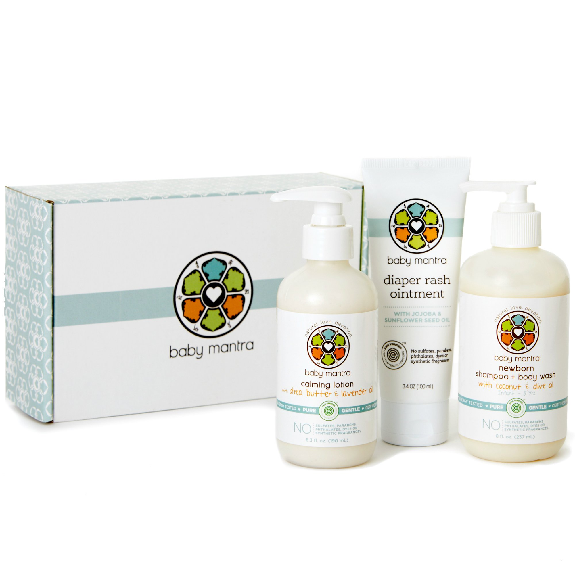 Baby Mantra Newborn Essentials Baby Gift Set, Includes Shampoo and Body Wash, Calming Lotion, and Diaper Rash Ointment, with Natural, Hypoallergenic, EWG Verified Ingredients, Perfect Baby Shower Gift