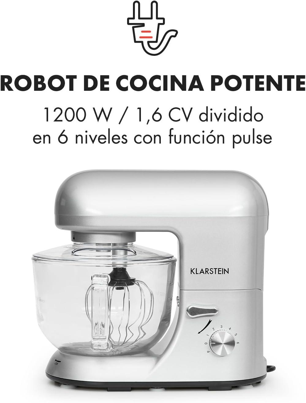 Klarstein - Bella Argentea 2G, Robot de Cocina, Mezcla, Amasadora ...