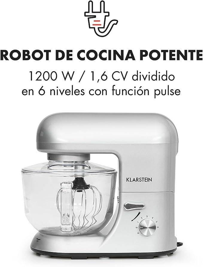 Klarstein - Bella Argentea 2G, Robot de Cocina, Mezcla, Amasadora, Batidora, 1200W, 2,5 a 5,2 litros, Bol Cristal, 6 velocidades, Función Pulso, Sistema Mezcla planetaria, Plateado: Amazon.es: Hogar