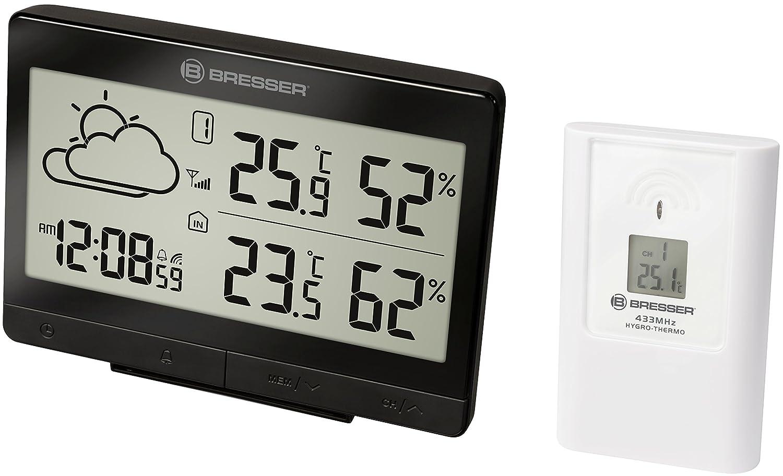 Bresser Funkwetterstation Temeo Trend LGX für Temperatur und Luftfeuchtigkeit inklusive Wettertrend-Vorhersage, Funkuhr mit Wecker und Außensensor, schwarz 7004502CM3000