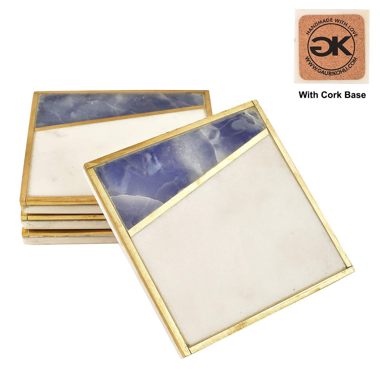 GAURI KOHLI 美しいブルーオニキスと大理石のコースター コルク底部 豪華なゴールドのインレーで装飾(Lサイズ|4枚セット)   B07JH53CDG