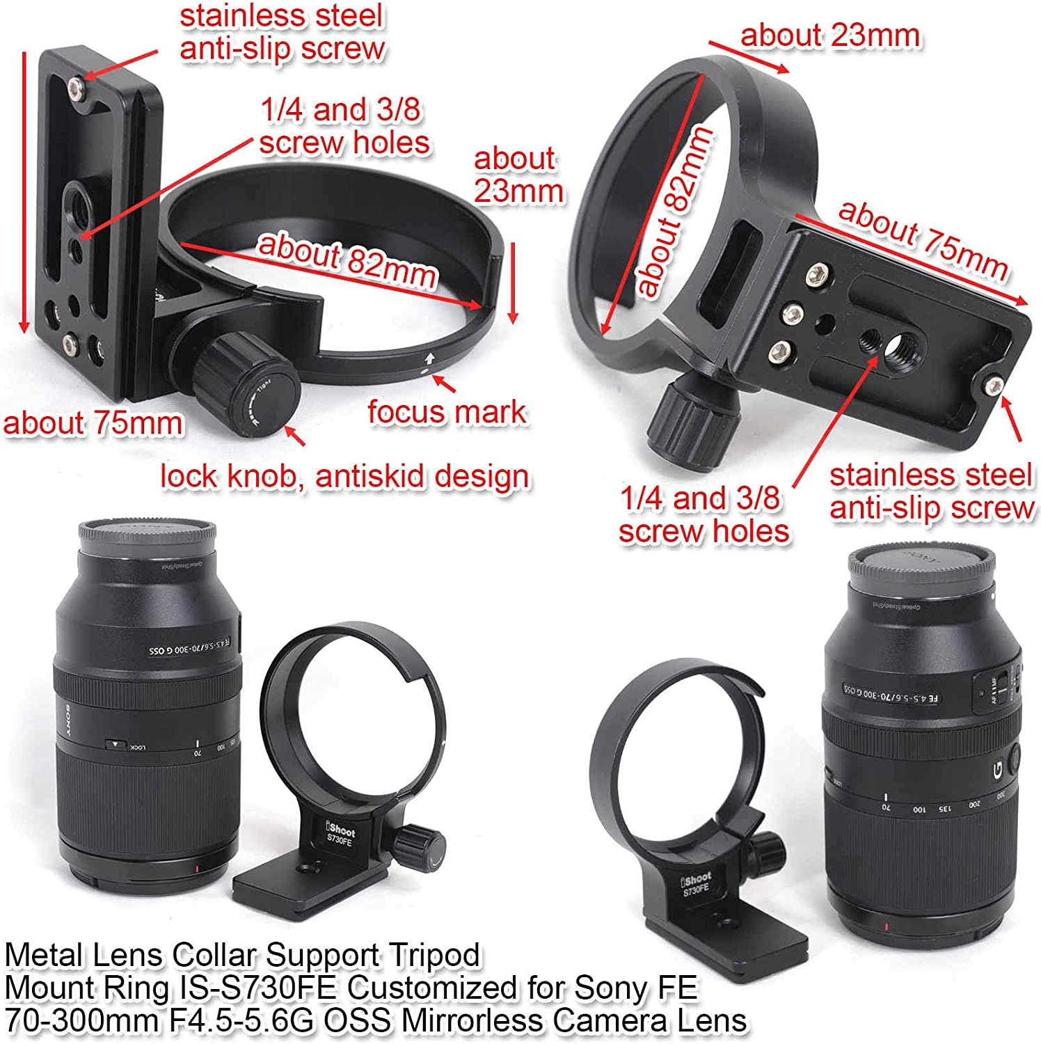 CNC Machined Lens Collar Support Tripod Mount Ring for Sony FE 70-300mm F4.5-5.6G OSS Mirrorless Camera,Bottom is ARCA Fit Quick Release Plate Compatible with Tripod Ball Head of ARCA-Swiss Kirk Fit