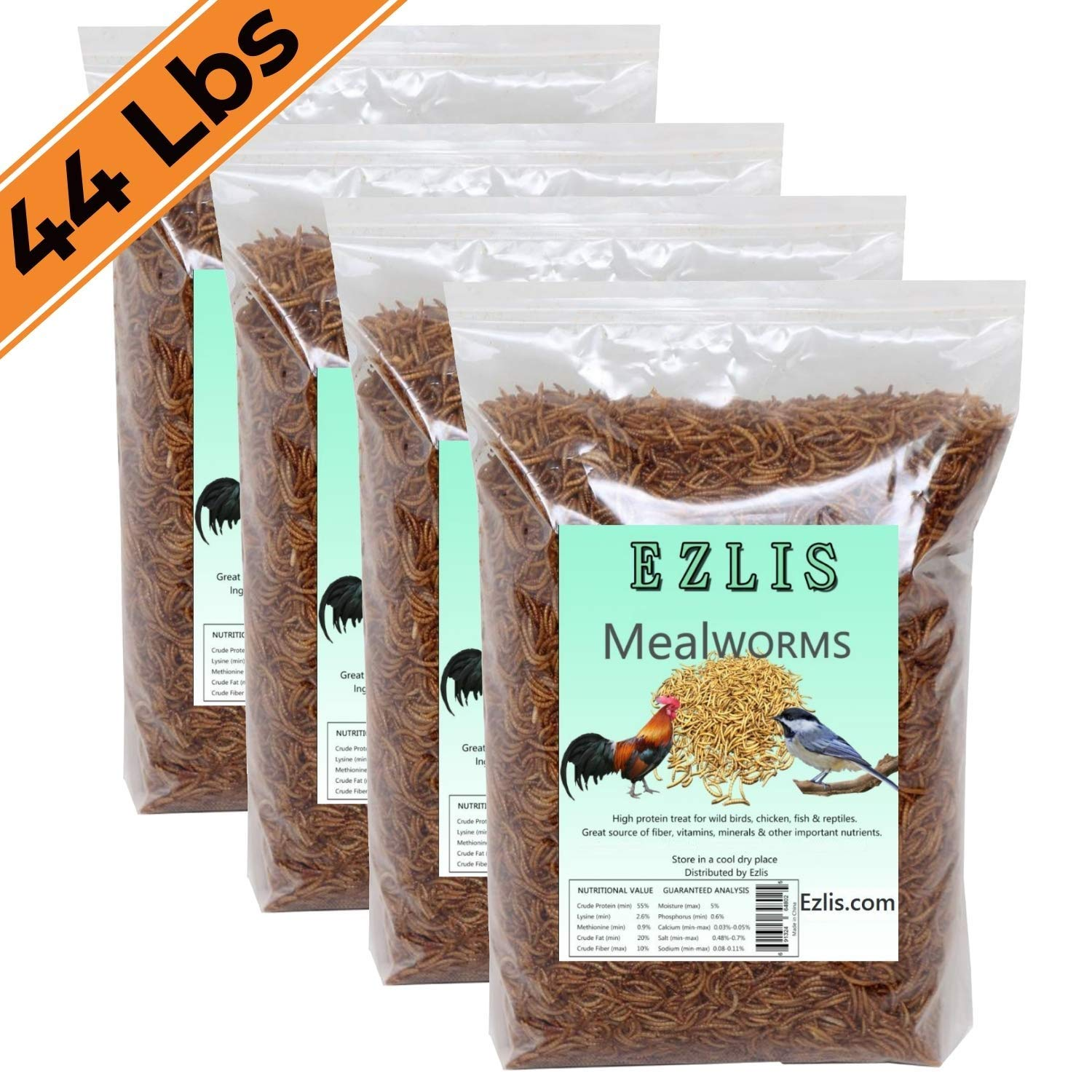 Ezlis Dried Mealworms for Chickens 44lbs - Chicken Treats, Duck Feed, Organic Chicken Feed, High-Protein Meal Worms Bulk Food for Chickens, Bluebird Food, Poultry Feed, Hens, Wild Birds, Fish, Turtle by Ezlis