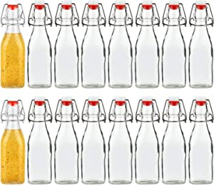 Encheng 8oz Glass Bottles With With Air Tight Lids,Beer Bottles For Home Brewing 250ml,Kombucha Bottles For Beverages,Kefir,Food Storage,Leak Proof,Dishware Safe 16 Pack …