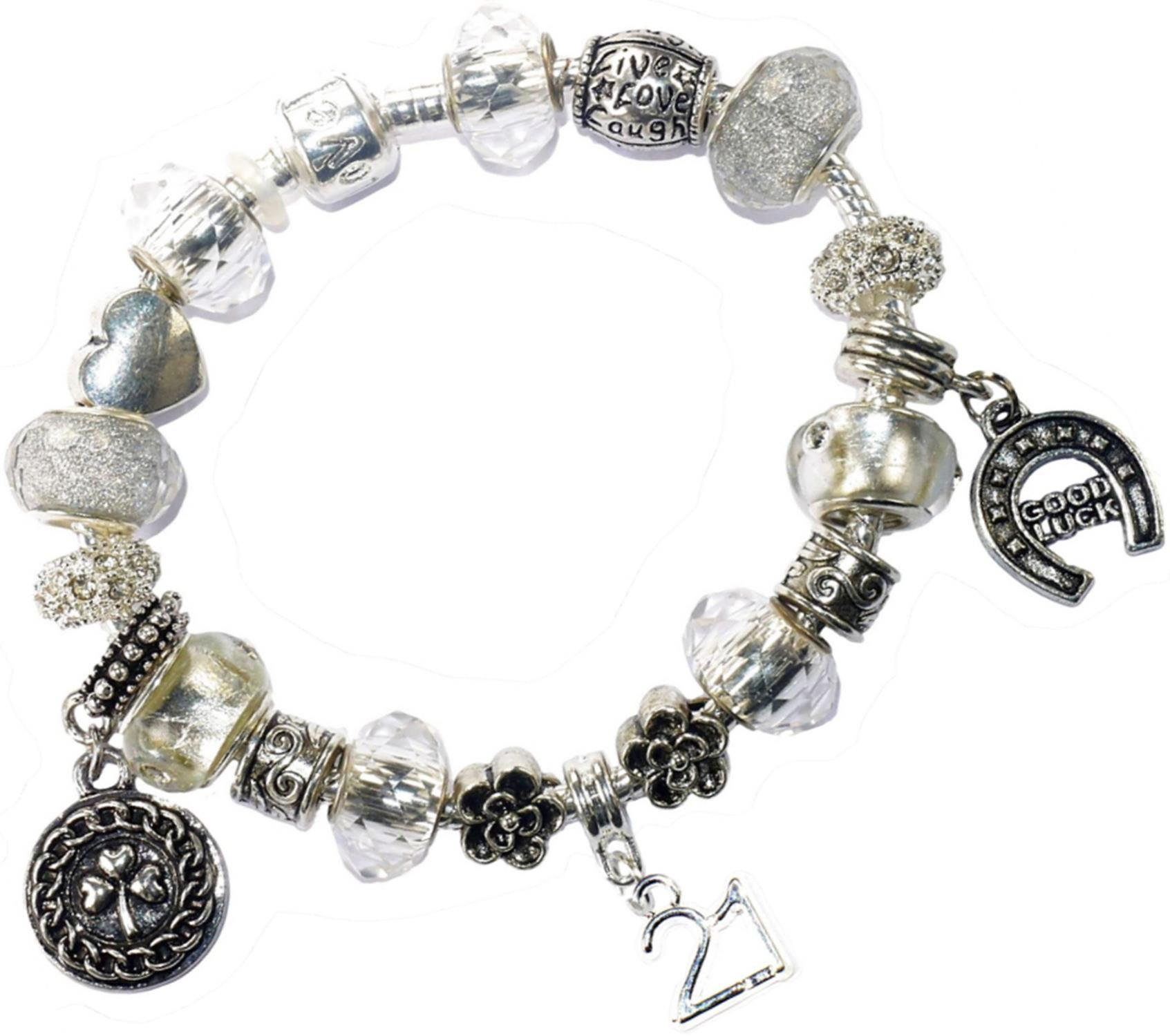 Charm Buddy 21St Birthday Good Luck Iced Silver Pandora Style Bracelet With Charms Gift Box Jewelry