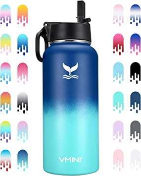 Wide Mouth Vacuum Insulated Water Bottle 32 oz with New Wide Handle Straw Lid