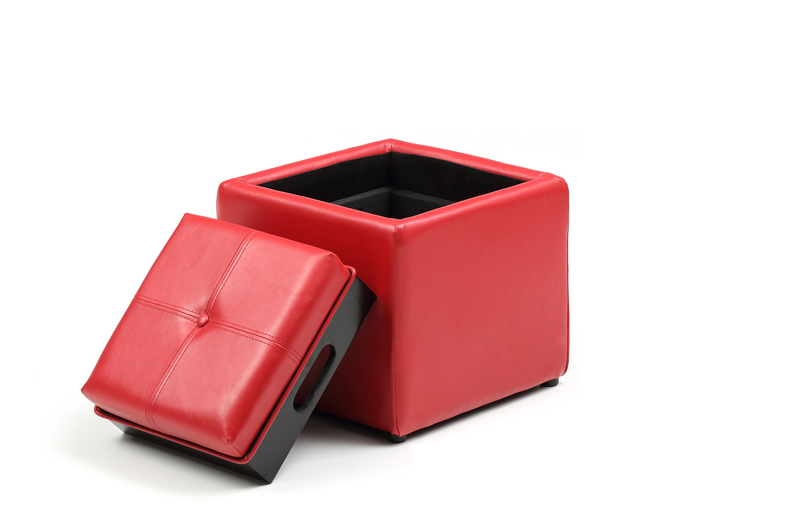 Hodedah Storage Ottoman with Wood Flip Over Tray, Red