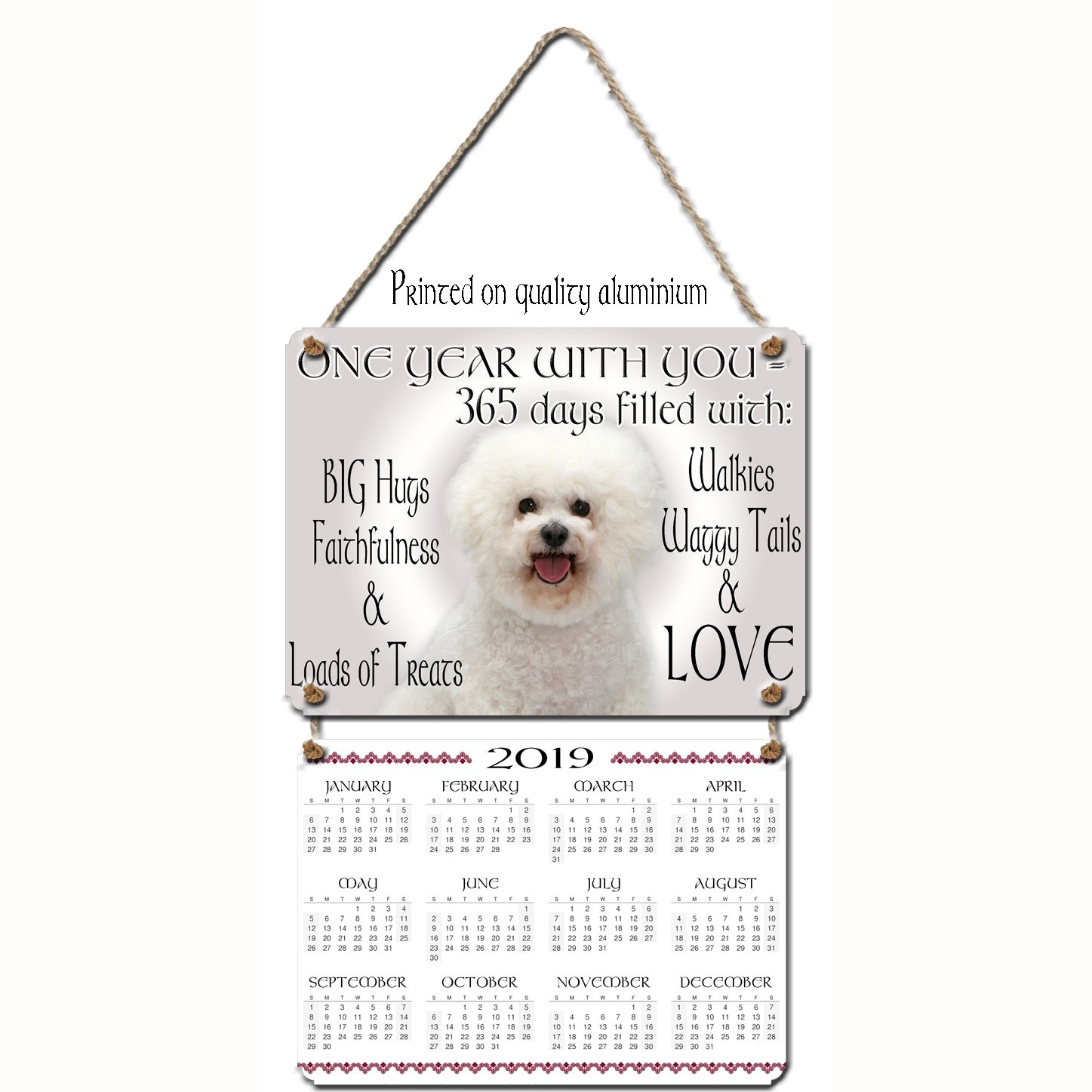 KAZMUGZ BICHON FRISE WALL CALENDAR Two gifts in one, a lovely 2019 calendar  and a FOREVER GIFT of a hanging aluminium wall plaque  BICHON FRISE Gift