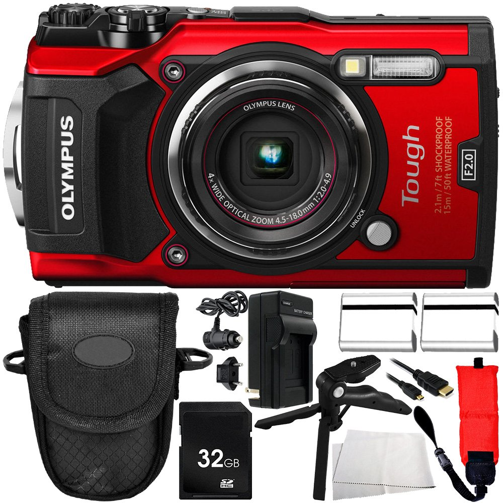 Olympus TG-5 Digital Camera (Red) 10PC Accessory Bundle - Includes 2X Replacement Batteries + AC/DC Rapid Home & Travel Charger + More