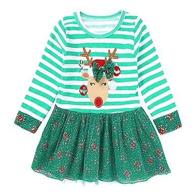 d8897bedc10 LPATTERN Vestido de Navidad para Bebé Niñas Diseño de Papa Noel Rayas Traje  de Navidad con Manga Larga  Amazon.es  Ropa y accesorios