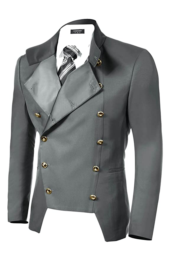 Men's Vintage Style Suits, Classic Suits COOFANDY Mens Casual Double-Breasted Jacket Slim Fit Blazer $62.39 AT vintagedancer.com