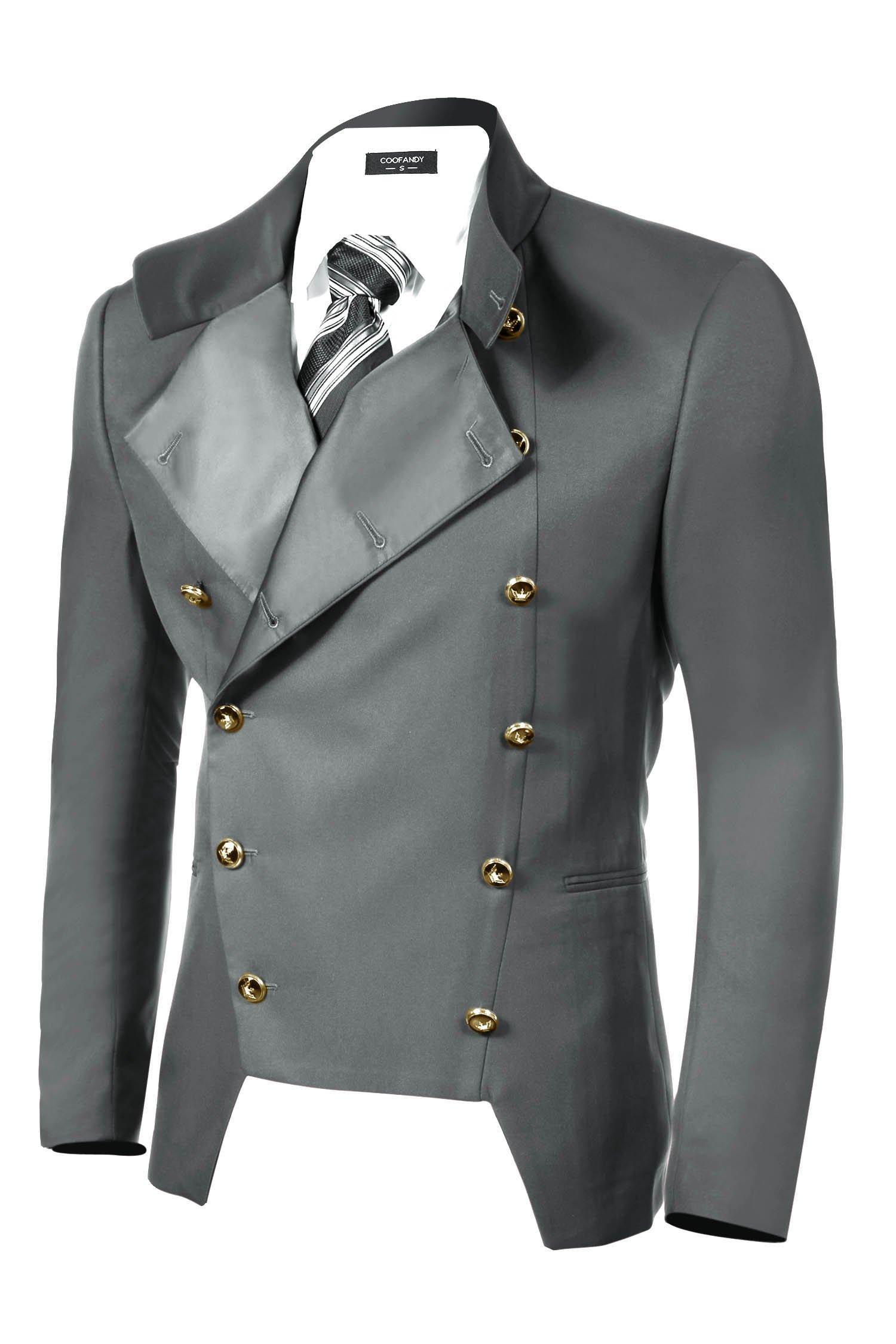 COOFANDY Men's Casual Double-Breasted Jacket Slim Fit Blazer (Medium, Gray)