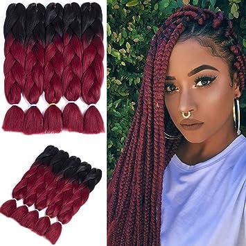 Jumbo Braiding Hair 24 Inch Kanekalon Synthetic Hair 5Packs Braiding Hair  Extensions Crochet Hair Passion Twist Faux locs(Black,Burgundy)