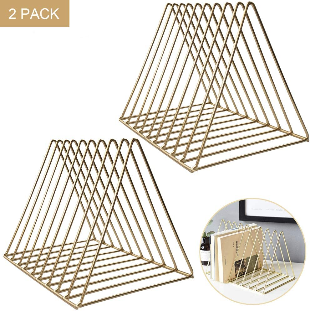 2 Pack Triangle Desktop Magazine File Holder Rack, Sturdy 9 Slot Iron Storage Book Sorter Organizer Bookshelf for Office Home Decoration (Gold)