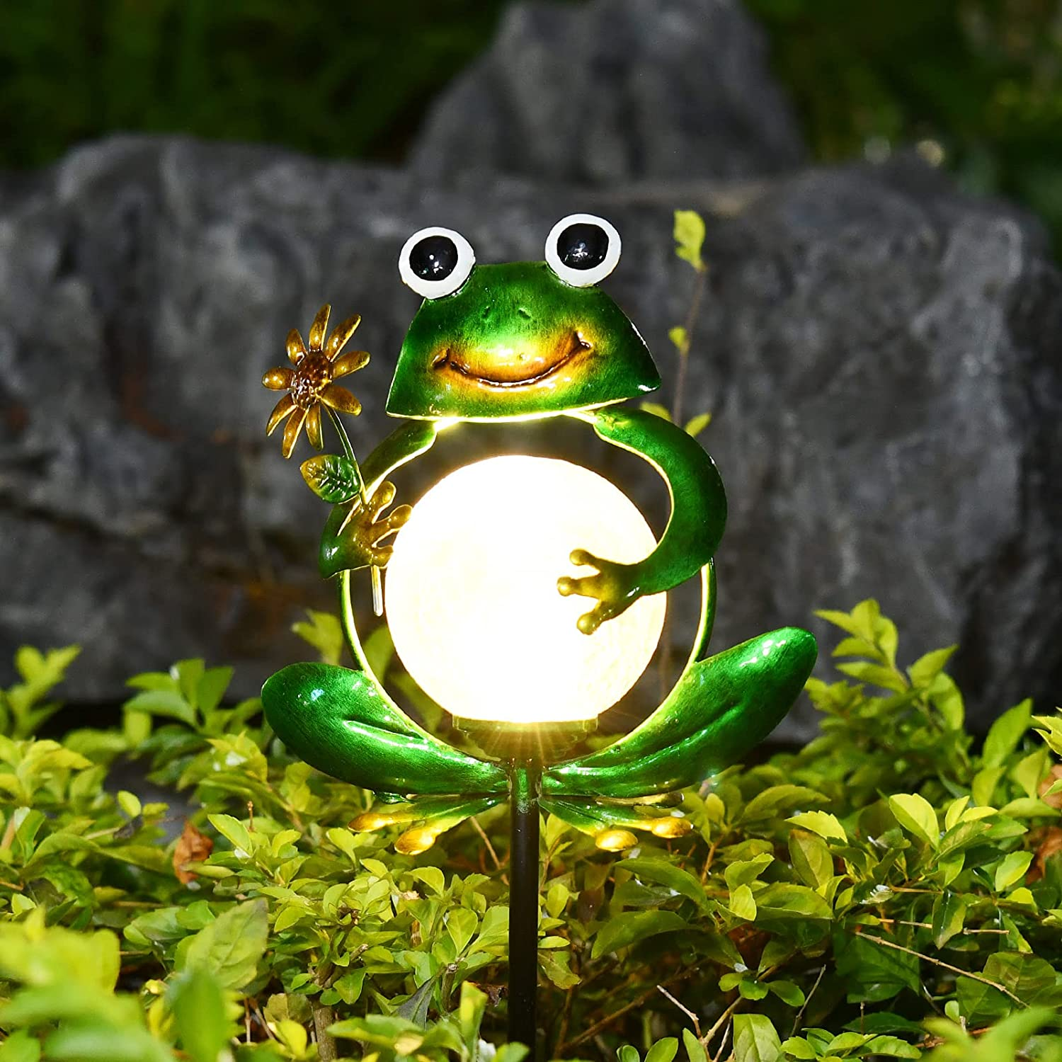DUWIS 2021 New Decorative Solar Garden Outdoor Lights, Metal Frog Shape, Waterproof Stake Lights with 2 Feet, Auto ON/Off Solar Powered Light for Patio, Lawn, Backyard, Pathway