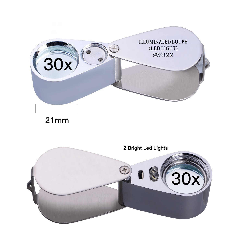 30X 21mm Lente dingrandimento pieghevole Lente dingrandimento pieghevole con luce LED Lente per gemme Gioielli Gioielli Antichit/à Francobolli Monete Orologio Strumenti di lettura di precisione