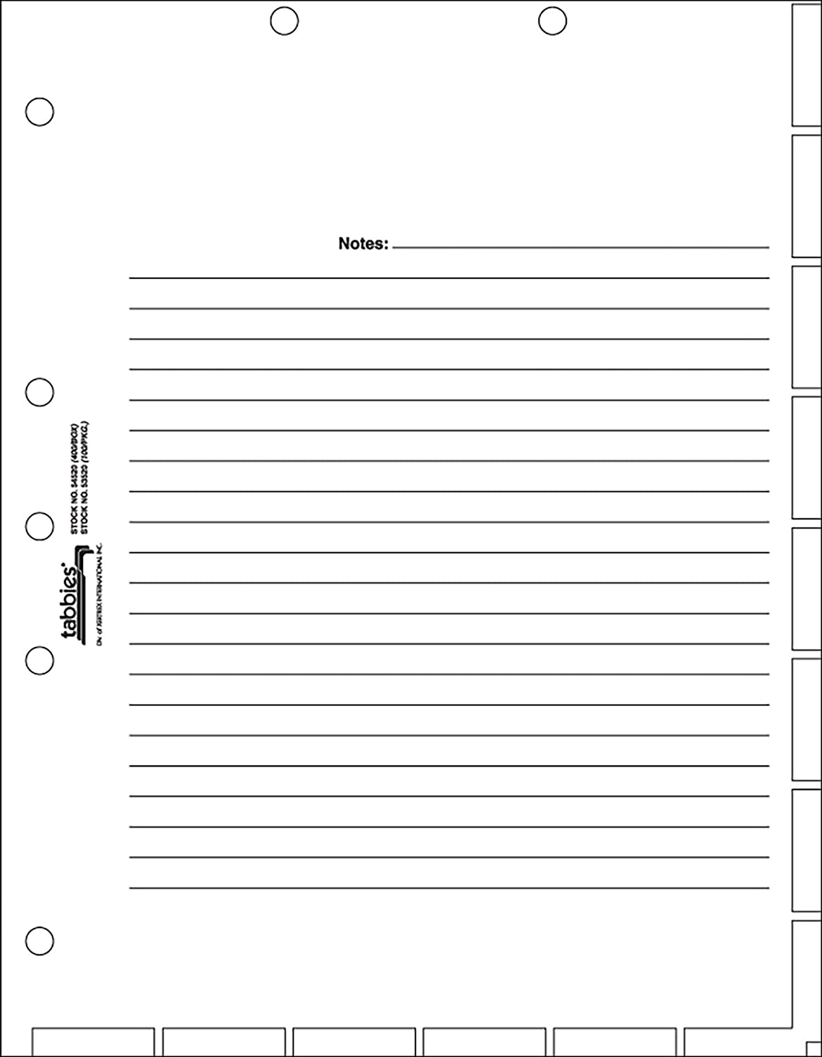 """tabbies Medical Chart Divider Sheets, 7 Hole Punched for 3-Ring Binders, 11""""H x 8-1/2""""W, White, 400 Sheets/Pack (54520) (TAB54520)"""