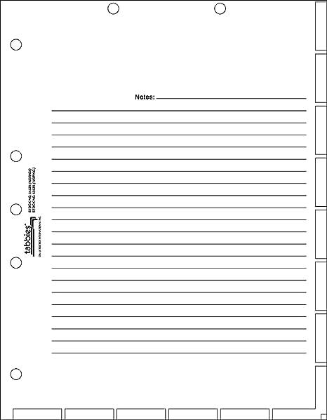 Amazon com tabbies medical chart divider sheets 7 hole 11 h x 8