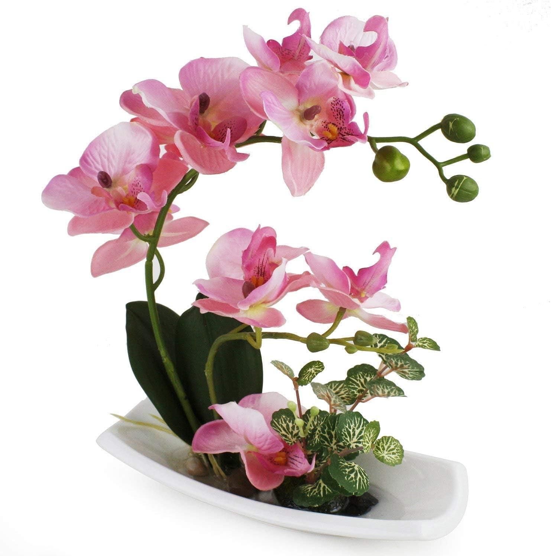 True Holiday - Arreglos de orquídeas artificiales con jarrón en porcelana blanca, flores y plantas artificiales para decoración de interiores, de plástico, diseño realista