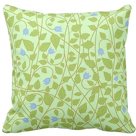 Poco azul flores y hojas en verde menta cojín funda de ...