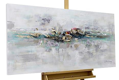 KunstLoft® Acryl Gemälde \'Mirage\' 120x60cm | original handgemalte Leinwand  Bilder XXL | Abstrakt Grau Blau Gold Schlafzimmer Küche | Wandbild Acryl ...