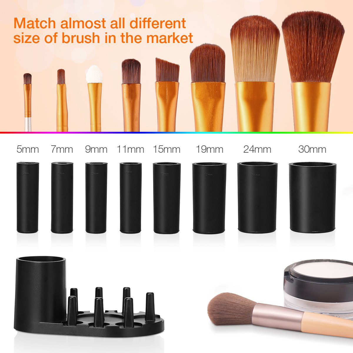Makeup Brush Cleaner, Electric Makeup Brush Cleaner and Dryer for All Size Makeup Brushes with 8 Different Rubber Collars, Clean and Dry in Seconds (Black)