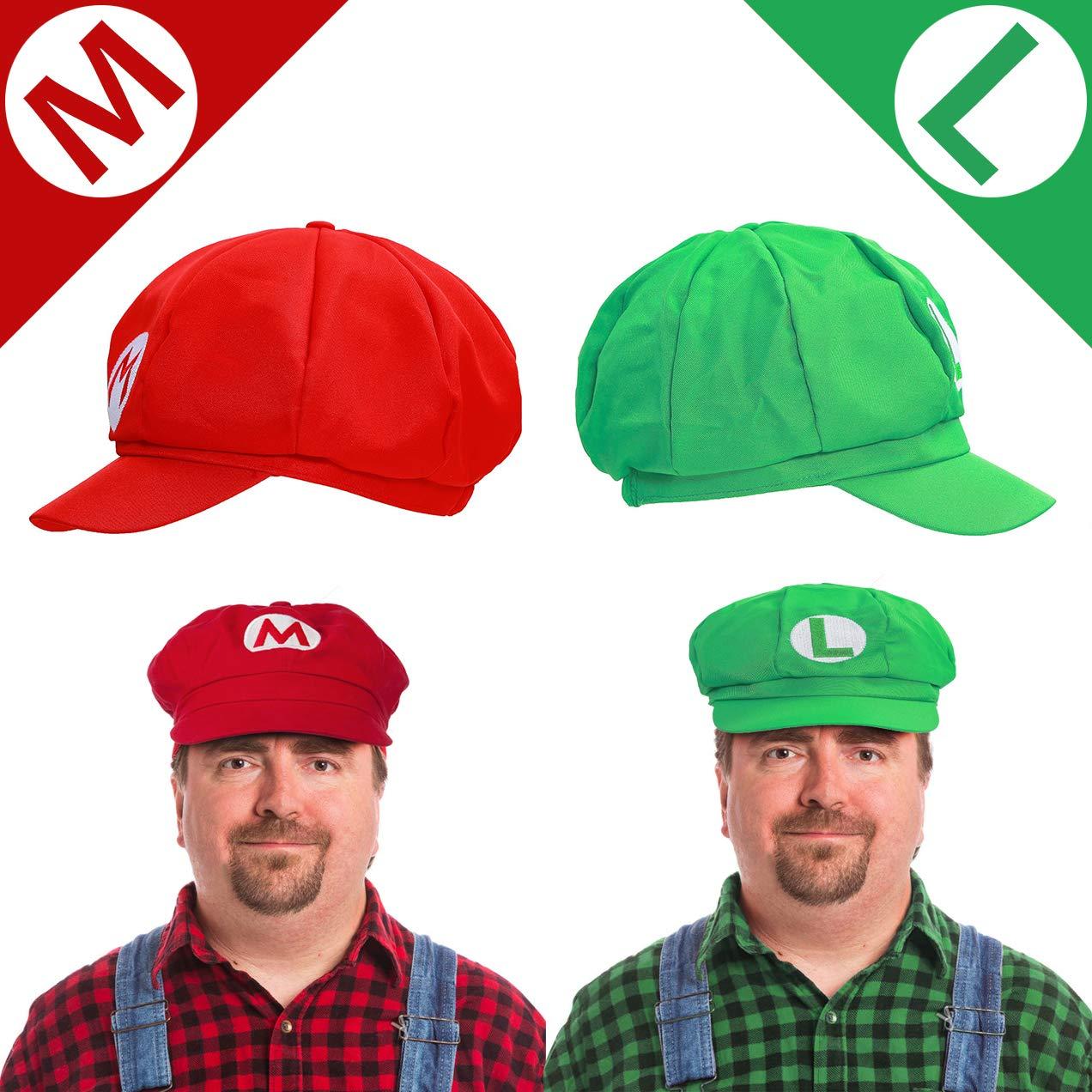 iZoeL Costume Super Mario Luigi Incluso 2X Cappello Mario Luigi 4X Guanti Bianchi 14x Moustache 4X Pulsanti 5cm per Costume di Carnevale Decorazione per Feste Bambino Adulto