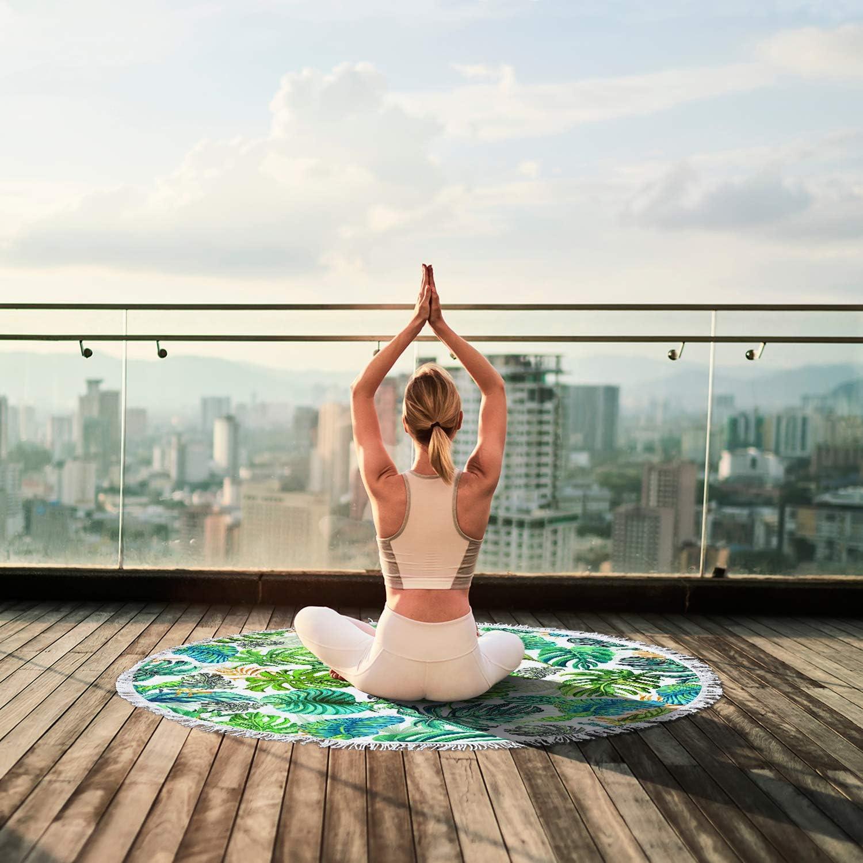Toalla de Playa Redonda c/írculo Multiusos Esterilla de Yoga Alfombra de Picnic YAXIUFEN 29 Opciones Manta con borlas impresi/ón 3D Gruesa Suave superabsorbente 60 Pulgadas