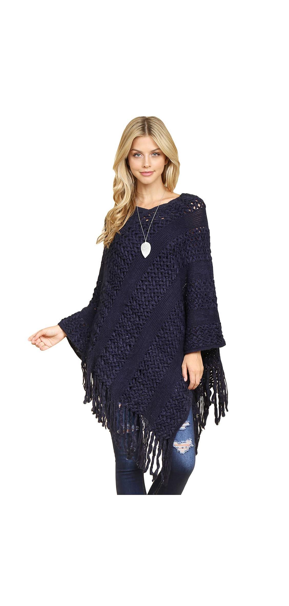 Classic Soft Knit Poncho Shawl Wrap - Basic Warm Pullover Fringe