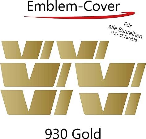 P029 Printattack Emblem Folie Cover Set Passend Für Die Innenflächen Logo Aufkleber Skin Kühlergrill Gold Auto
