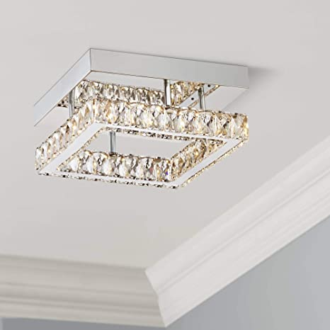 Patricia Modern Ceiling Light Flush Mount Fixture Led Chrome 12 Wide Square Crystal For Bedroom Kitchen Living Room Hallway Bathroom Possini Euro Design Amazon Com