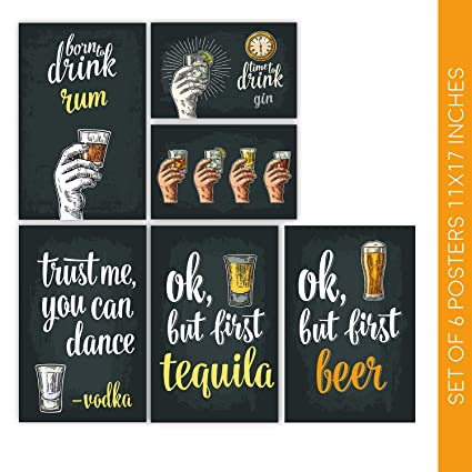 Amazon Com Bar Accessories And Cocktail Decor Signs Six 11x17