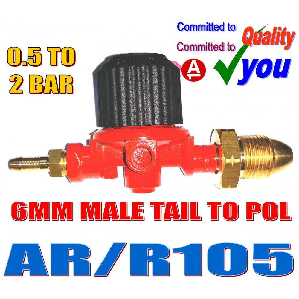 Propane Gas Regulator BBQ Heater Blow Torch Calor POL Nut Adjustable 0.5 to 2.0 Bar 4.8mm Male Tail Cavagna