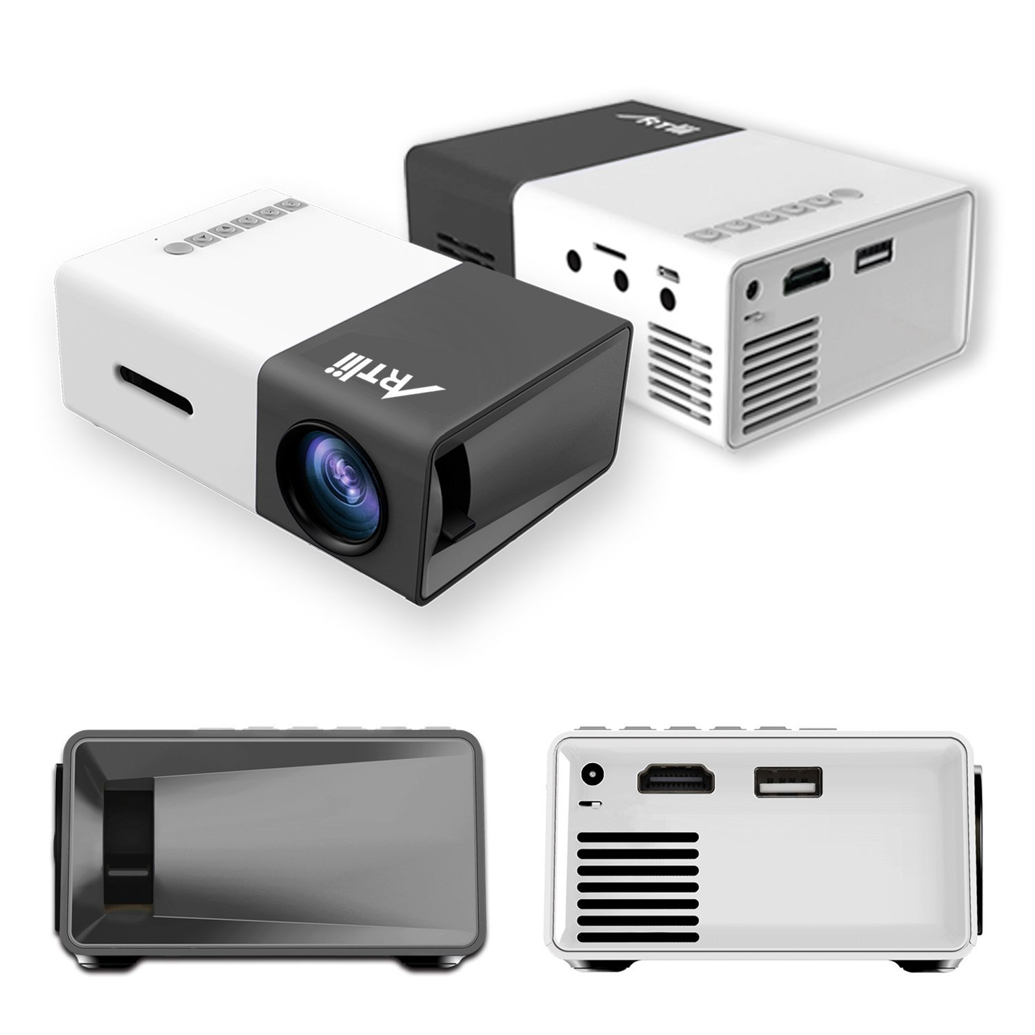 Pico Projector, Artlii Movie iPhone Mini Pocket Laptop Smartphone Projector for Home Cinema Video Party - Black&White by ARTlii (Image #8)