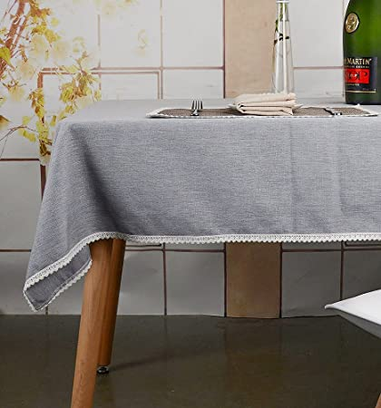 MANVEN Tablecloths 70 X 90 Inch Light Grey, Washable Stain Resistant  Wrinkle Free, Fabric