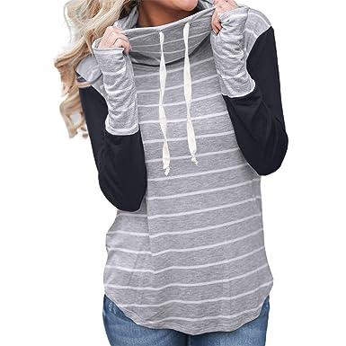 Desirca Fashion Striped Stitching Pullover Women Autumn Winter Oversized Tops Ladies Casual Drawstring Hoodies Jumper Sweatshirtsh