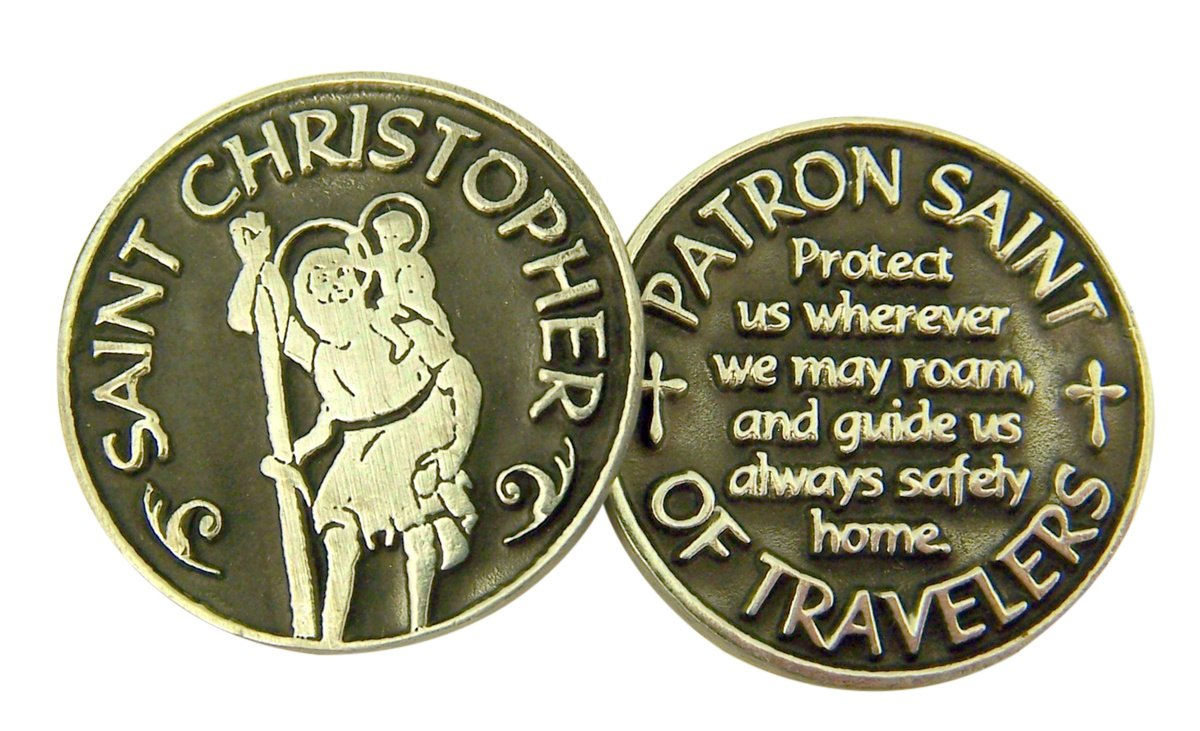 Silver and Black Tone Patron of Travelers Saint Christopher Devotional Prayer Token, 1 1/8 Inch by Religious Gifts