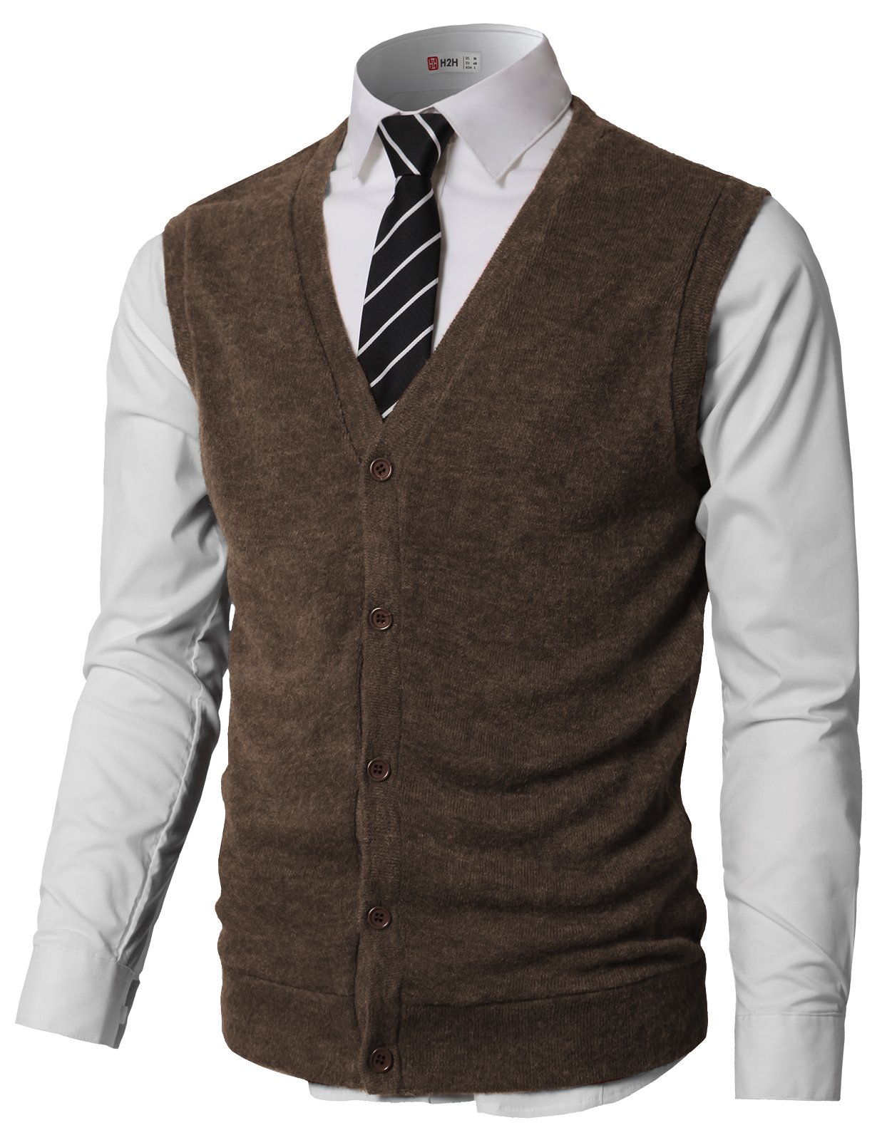 H2H Men's Classic Knit Cardigan Sweater Vest With Button Brown US L/Asia XL (CMOV046) by H2H