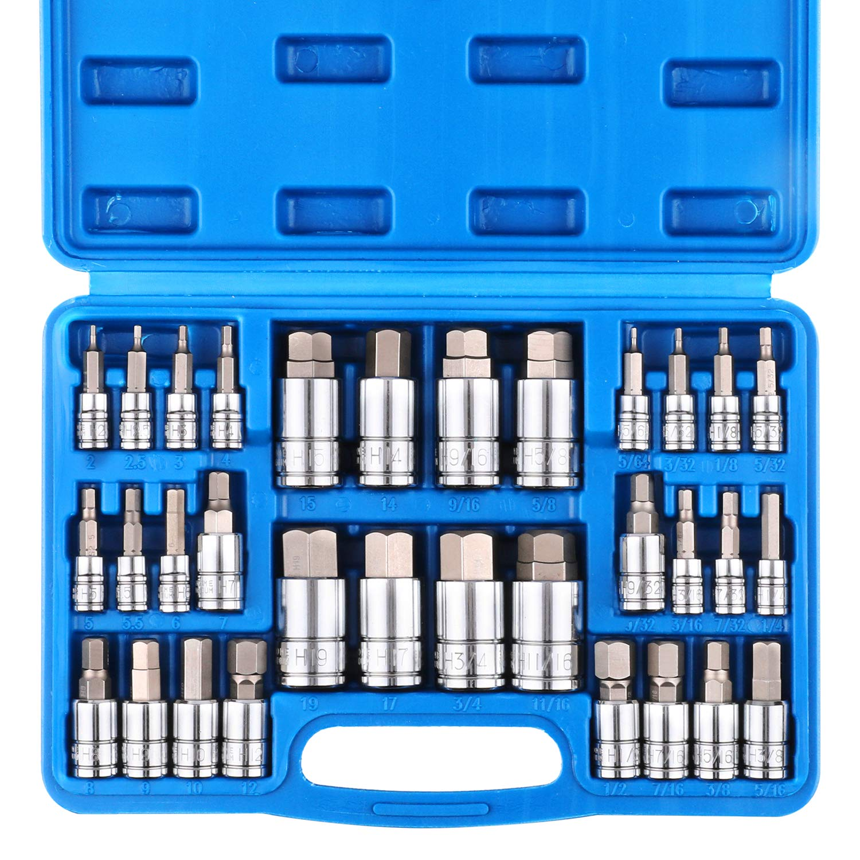 CASOMAN 32 Piece Master Hex Bit Socket Set, S2 Steel, SAE And Metric, Allen Socket Bit, 5/64-inch to 3/4-inch, 2mm to 19mm Socket Tool Kit