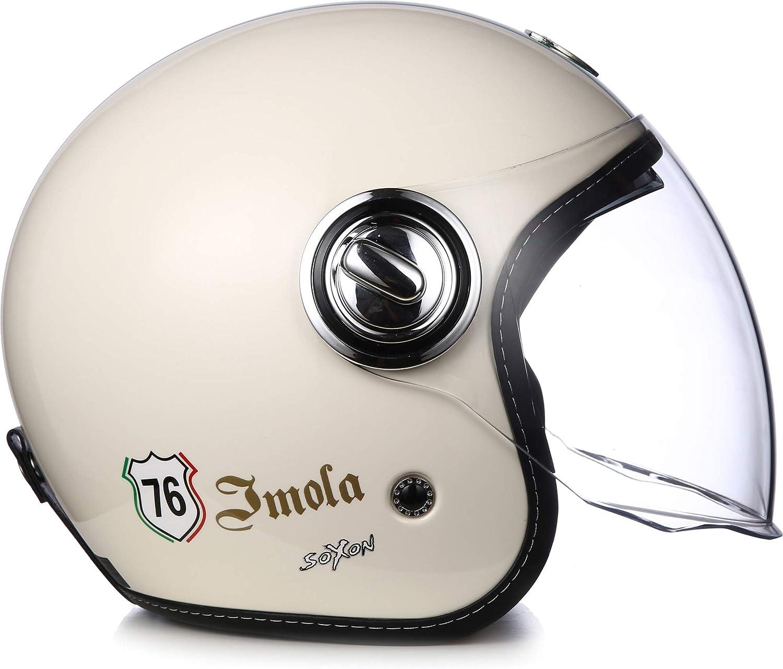 "Soxon/® SP-888 /""Imola Creme/"" /· Jet-Helm /· Motorrad-Helm Roller-Helm Scooter-Helm /· ECE Sonnenvisier Schnellverschluss SlimShell Tasche M 57-58cm"